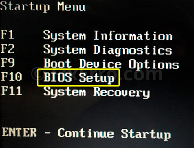 hp bios menu